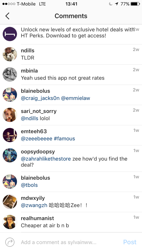 Comments on Instagram video ad
